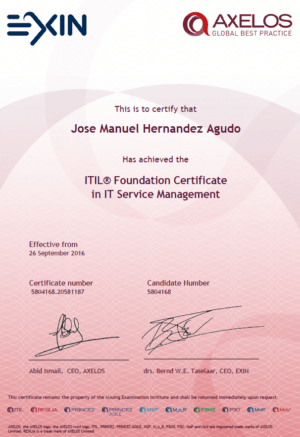 Certificado ITIL Fundation in IT Service Managerment
