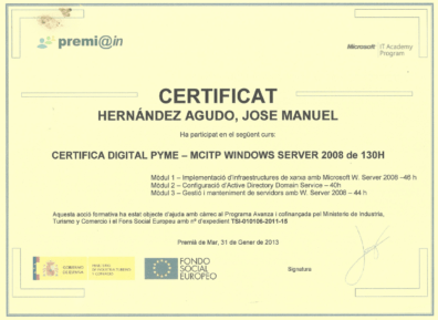 Certificado MCITP Windows Server 2008