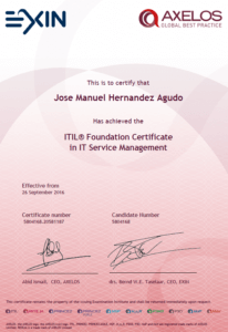 2016 EXIN - ITIL Foundation certificate in IT Service Management