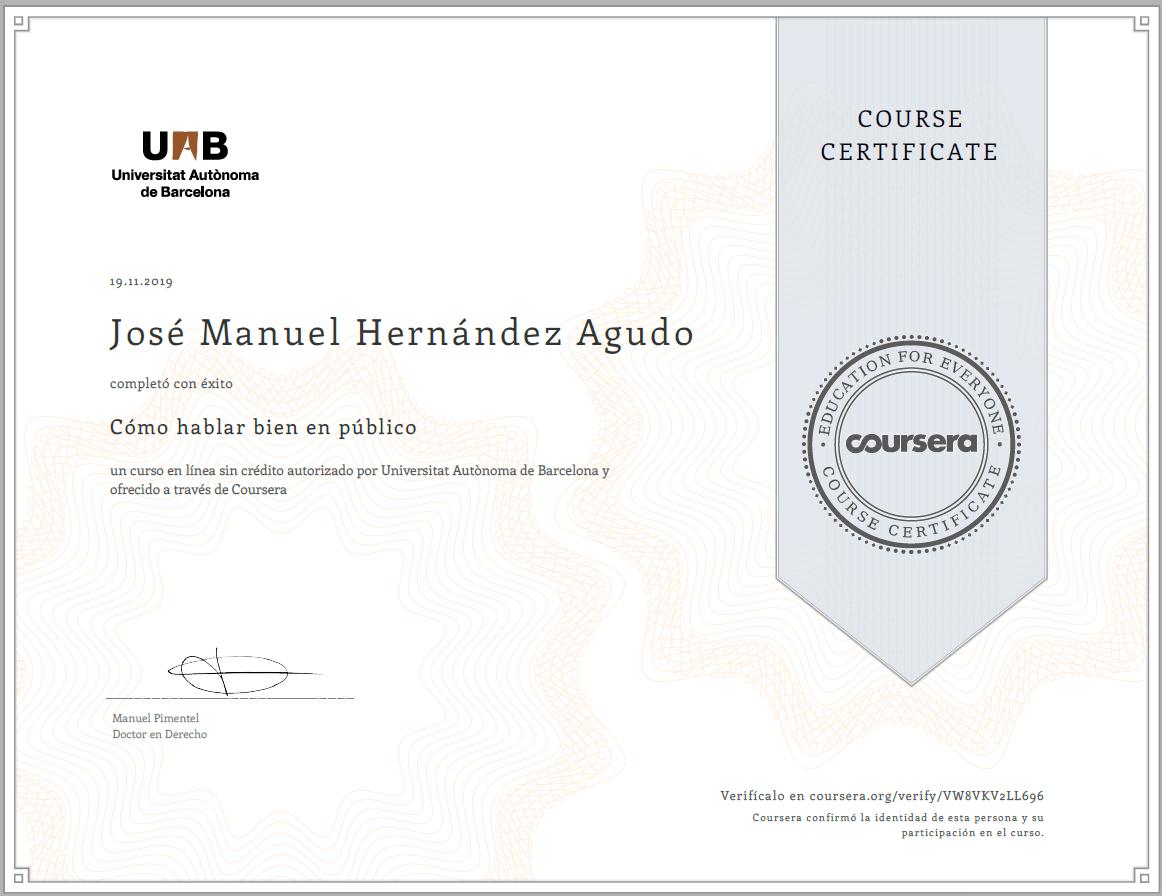 Coursera - Universitat Autònoma de Barcelona - Cómo hablar en público