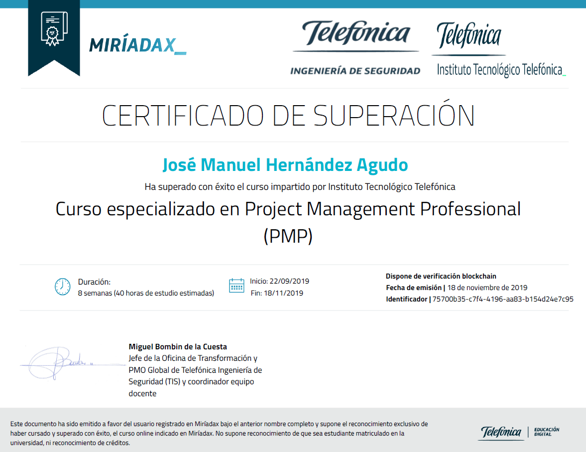 Instituto Tecnológico Telefónica - Curso especializado en Project Management Professional PMP