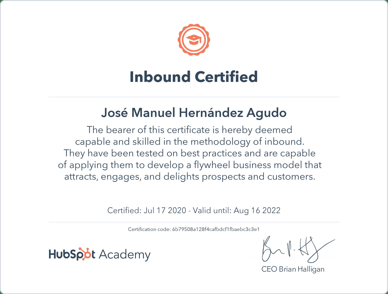 2020 Hubspot - Inbound Certified